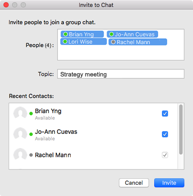 invite the contact group to the chat
