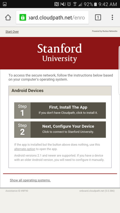 how to set up an android device on the stanford secure wireless return to the open browser and tap android devices > step 2 next configure your device