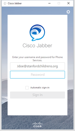 sign in to Jabber