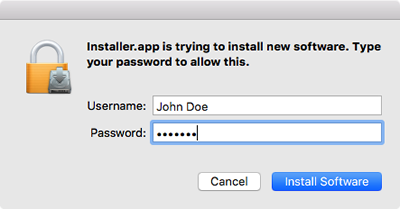 enter your administrator user name and password