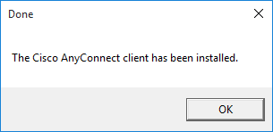 message saying VNP client has been installed