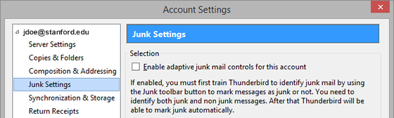 disable adaptive junk mail controls