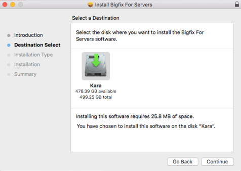 select the disk where you want to install the BigFix for Servers software