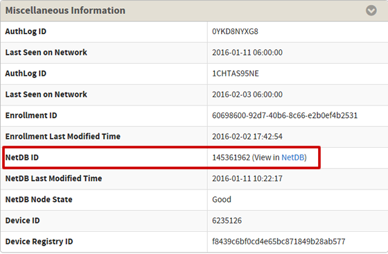View in NetDB link in Miscellaneou Information section