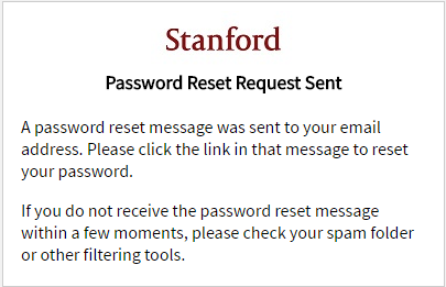 Password reset request sent message