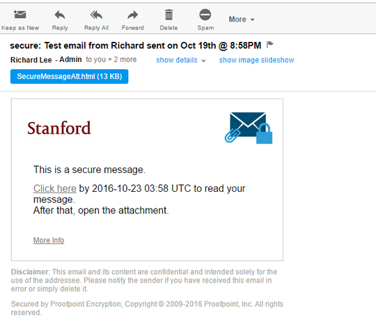 Proofpoint secure email message