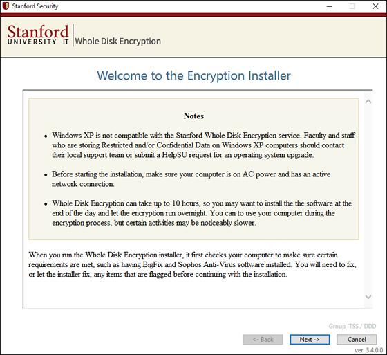 Welcome to the Encryption Installer screen