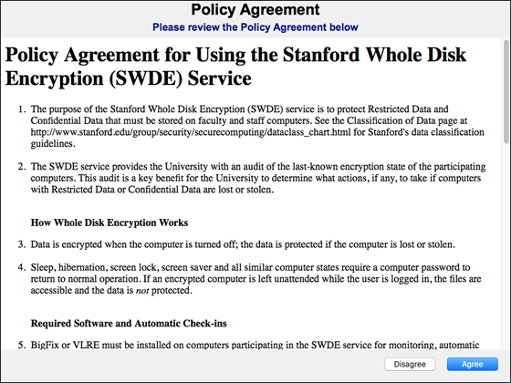 policy agreement for using SWDE