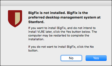 confirm whether you want to install BigFix