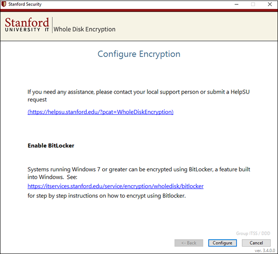 click Configure to enable BitLocker