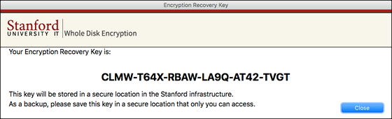 display of encryption recovery key