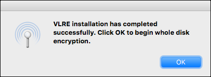 message saying that VLRE was installed successfully