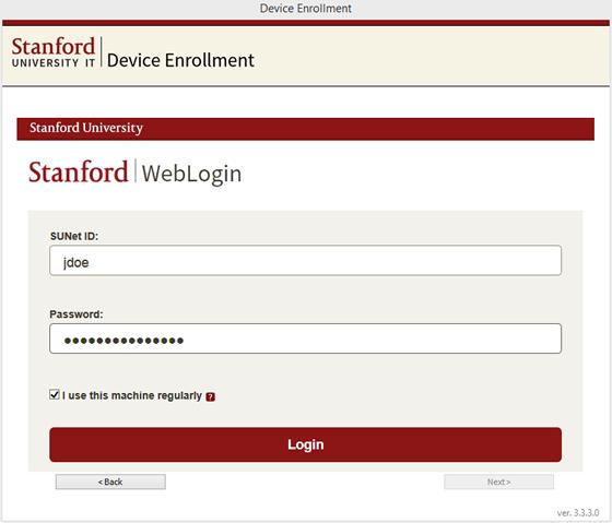 WebLogin screen