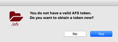 prompt to get AFS token