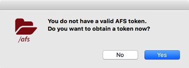 prompt to get AFS token