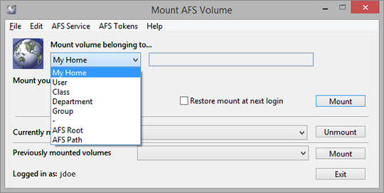 choose AFS space where you choose to publish