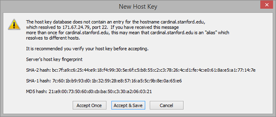 new host key message for cardinal server