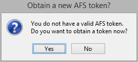 prompt to obtain a new AFS token