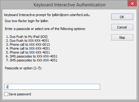 enter passcode or choose another two-step authentication option