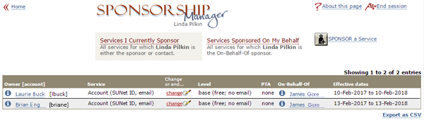 report of services which I am either the sponsor or contact