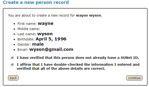 confirm that new person information was entered correctly