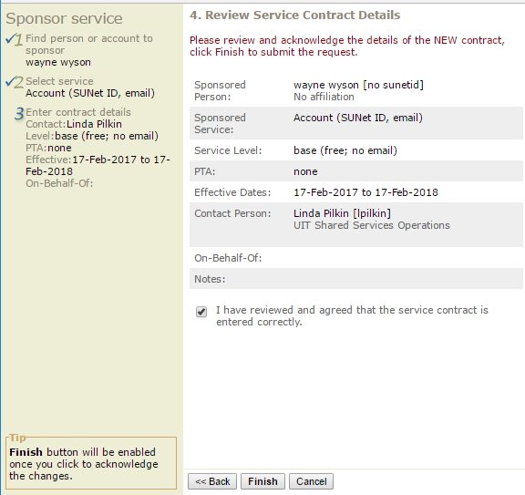 review the service contract details
