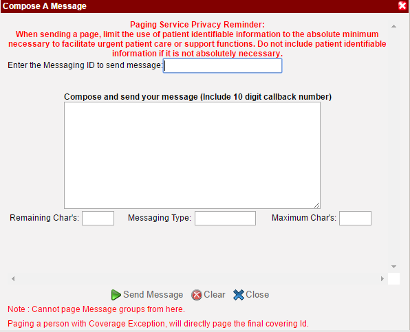send a message using the Quick Page feature