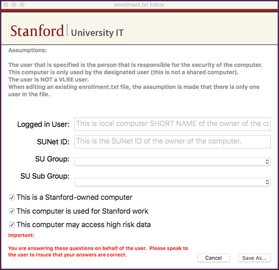 screen to enter enrollment.txt answers
