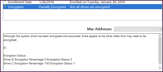 summary screen with message that primary drive is encrypted but another one is not