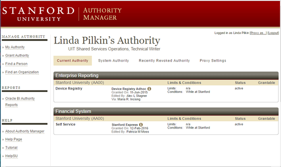 Authority Manager main page