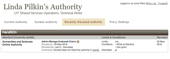 recently revoked authority view