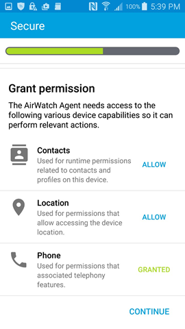 grant AirWatch Agent permissions to various device capabilities