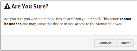 confirm that you want to remove your device from MDM and MyDevices