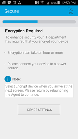 encryption required screen