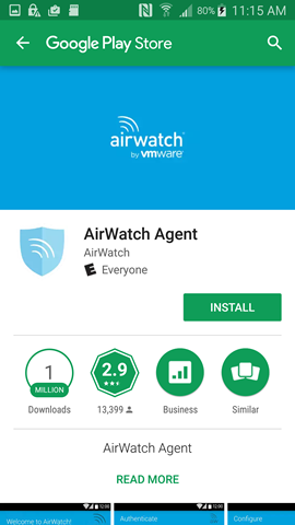install AirWatch from Play Store