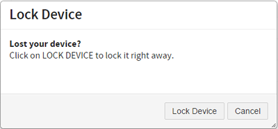 dialog box to lock your device