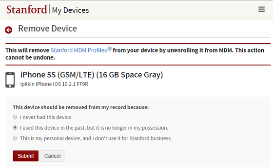 submit reason why device should be removed from your record