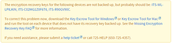 announcement listing names of devices with recovery keys not backed up