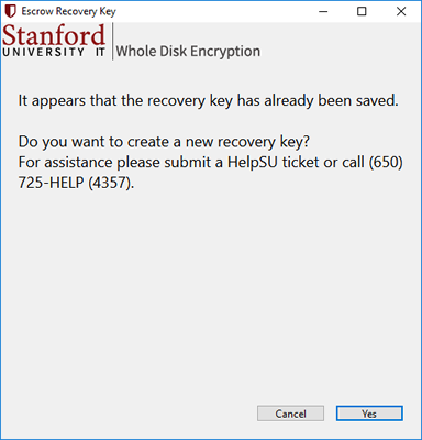 screen that displays if your recovery key is already saved