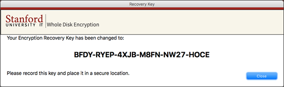 encryption recovery key