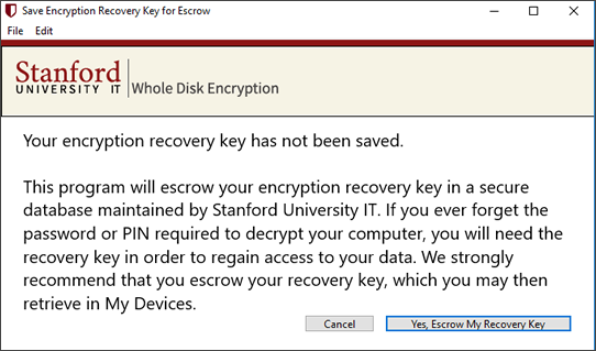 prompt to save your recovery key in a secure database
