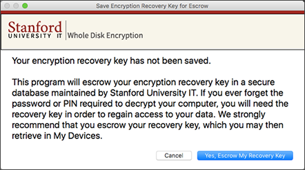 encryption recovery key was not saved message