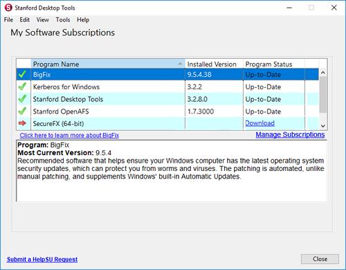Stanford Desktop Tools main window