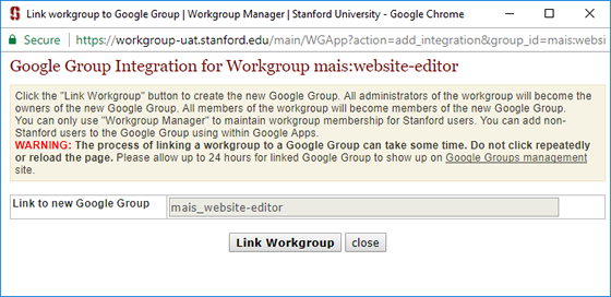 link workgroup to a Google Group