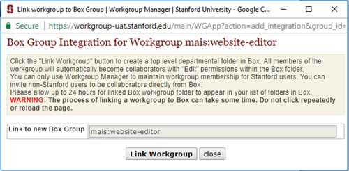 Link workgroup to Box folder
