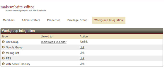 Window showing workgroup linked to Box