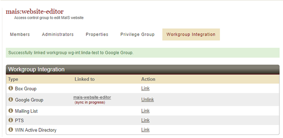 workgroup linked to Google Group