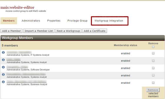workgroup integration tab in Workgroup Manager