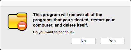 confirm that you want to remove the selected programs and restart your computer