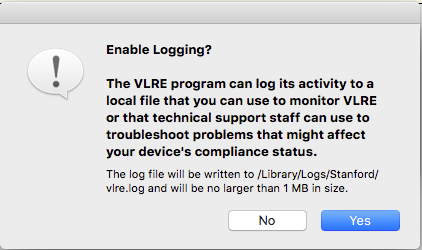 choose whether or not to let VLRE log program activity for troubleshooting purposes